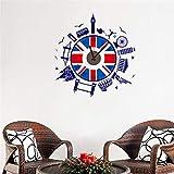 ufengke Reloj de Pared Estilo Británico Pegatinas de Pared Edificios Famosos Vinilos Adhesivos Decoración para Dormitorio Salón Oficina Habitación