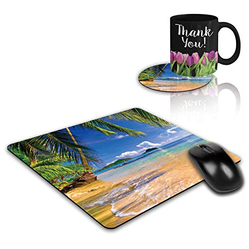 Gaming Mouse Pad and Coasters Set, Shore Palms Tropical Beach Mousepad, Non-Slip Rubber Rectangular Mouse Pad, Customized Mouse Mat for Laptop Computer Home Office
