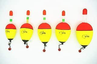 Toasis 5pcs Soft EVA Foam Fishing Drift Floats Slip Bobbers Assorted Sizes with Luminous Lighting Glow Sticks and Snap Connectors
