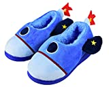 Boys Little Child Comfy Plush Slip-on Slippers Cute Cartoon Rocket Warm Shoes Size 10-11 US Light Blue