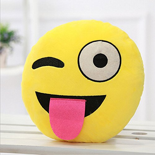 COOLCASE E:naughty Style Creative Cartoon QQ Expression Funny Plush Toy Emoji Soft Pillow