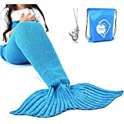 """LAGHCAT Mermaid Tail Blanket Knit Crochet Mermaid Blanket for Adult, All Seasons Sleeping Blankets, Double Cable Pattern (71""""x35.5"""", Green and Gray)"""