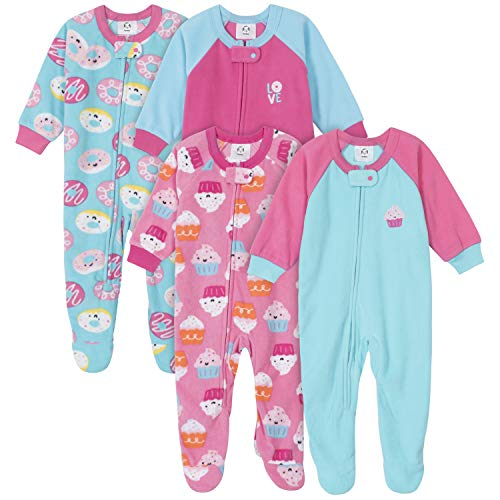 Gerber Baby Girls' 4-Pack Blanket Sleeper, Cupcakes Donuts, 18 Months