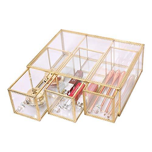 Schmuckkästen Schmuckschatullen Retro Glas Schmuckkiste Staubdichte Desktop Kosmetik Aufbewahrungsbox Schublade TZXSHO