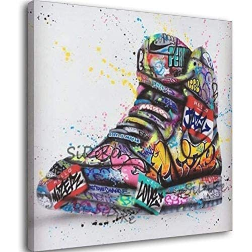 Schuhe Graffiti Kunst-Poster und Drucke auf Leinwand, Gemälde, Mode-Straßen-Wandkunst, Bild für Wohnzimmer, Zuhause, Design Dekoration, ohne Rahmen, 80 x 80 cm