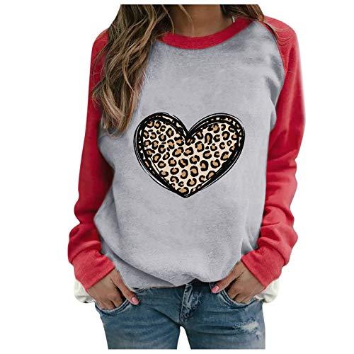 minjiSF Sudadera de manga larga para mujer, cuello redondo, monocolor, estampado de leopardo, moda San Valentín gris XXXL