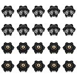 20pcs Tuercas Perilla Torno M6 x 32 mm, M6 Rosca Hembra Perilla de Sujeción, Plástico Negro Forma de Estrella Perilla, para Máquina Herramienta, Decoración de Muebles, Dispositivos Mecánicos