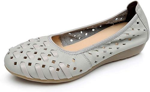 LXJL Les Les dames en Cuir Plates Occasionnels Les Les dames Fond Mou Sandales à Trou Creux antidérapantes Chaussures compensées Chaussures de Travail,e,40