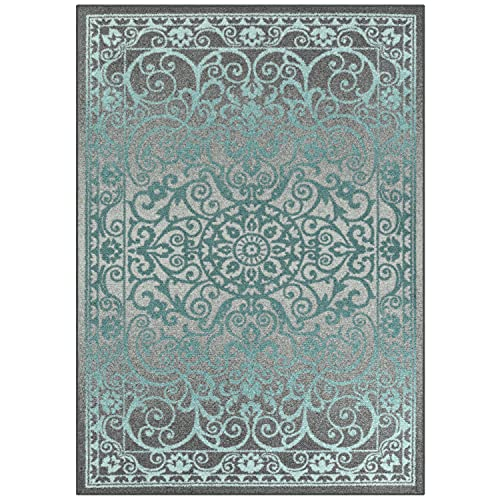 Maples Rugs Area Rug - Pelham 5 x 7 Large Area Rugs [Made in USA] for Living Room, Bedroom, and Dining Room, Grey Blue