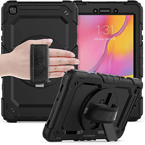 Protective Case Protective Cover for Samsung Galaxy Tab A 8.0' 2019 T290/T295 Three-Layer Shockproof ,360 Degree Swivel Kickstand&Hand Strap & Shoulder Strap PC+Silicone Protective Case Tablet Slim Co