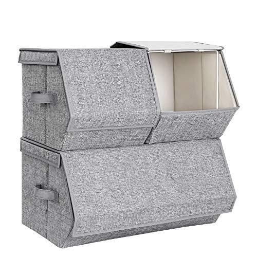 SONGMICS Stapelbare Aufbewahrungsbox mit Deckel, 3er Set, Spielzeug Organizer, Metallrahmen, Magnetverschluss, für Kleidung, Spielzeug und Bücher, grau RLB12GY