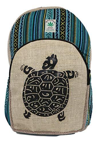 HIMALAYAN Hanf Rucksack, Hanf Tagesrucksack/Daypack für Schule, Reise, Freizeit, Outdoor, Natur - mit Laptopfach, handgemacht in Nepal – Model 151 Schildkröte