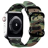 Watpro Compatible with Apple Watch Band 38mm 40mm 42mm 44mm Women Men Nylon Rugged Replacement iWatch Band Military-Style Buckle Grey Adapters for Sport Series 6 5 4 3 2 1 SE (Green Camo 42MM/44MM)