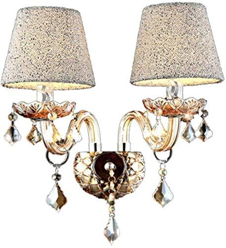 Lámparas de pared industriales, Luz de pared Estilo europeo Cristal de cristal Tallado Tallado Copas de cobre Acabado de metal Tela Shade Doble Head E14 Lámpara de pared de la vela para dormitorio Lám