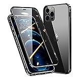 MQman 360°全面保護 前面ガラス+背面ガラス iPhone12mini ケース アルミバンパー 磁気吸着 マグネット式 強化ガラス バックプレート 透明背面 軽量 ワイヤレス充電 アイフォンクリアカバー (iphone12mini, 黒)
