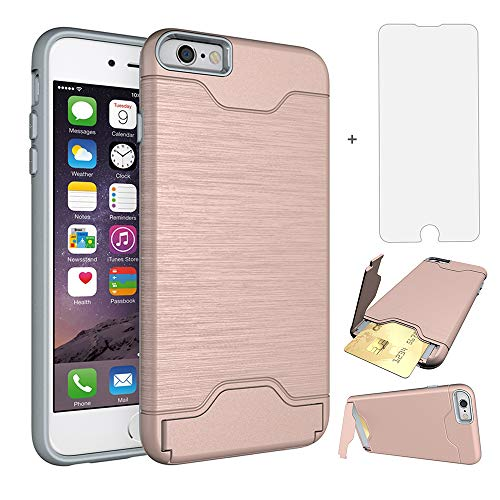 Phone Case for iPhone 6 Plus/6S Plus Cases with Credit Card Holder Slot Screen Protector Tempered Glass Stand Kickstand Slim Protective Cover Apple iPhone6+ iPhone6plus i 6Plus iPhone6splus Rose Gold