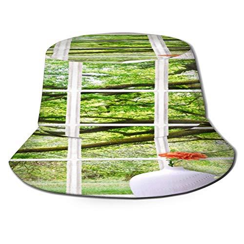 TTLUCKY Chapeau de pêcheur Bobs,Belles Fleurs et Vase Blanc sur Le Rebord de la fenêtre,pour Casquettes de Soleil pour Seau Jardinage Bateau de pêche Chapeau