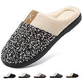 Deevike Pantuflas Zapatillas Hombre Invierno CáLido Zapatos Memory Foam Antideslizante Zapatillas de Estar por Casa Negro/Blanco 42/43 EU
