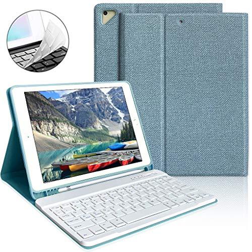 iPad Keyboard Case 9.7 with Pencil Holder for iPad 2018 6th Gen/iPad Pro 2017 5th Gen/iPad Air 2/Air1-Wireless Magnetic Bluetooth Keyboard (Lake Blue)