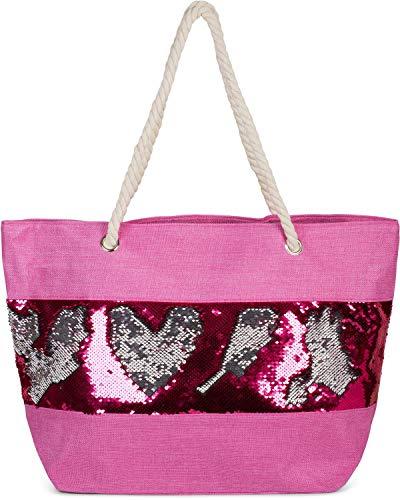 styleBREAKER Damen XXL Strandtasche mit Wende Pailletten und Reißverschluss, Schultertasche, Shopper 02012280, Farbe:Pink/Pink-Silber