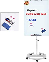 Glass Dry Erase Board, Magnetic Mobile Glass Board Flip Chart Easel Height Adjustable White Board with Marker Tray, 1 Eraser, 3 Markers, 2 Strong Magnets, 40 x 28 inch