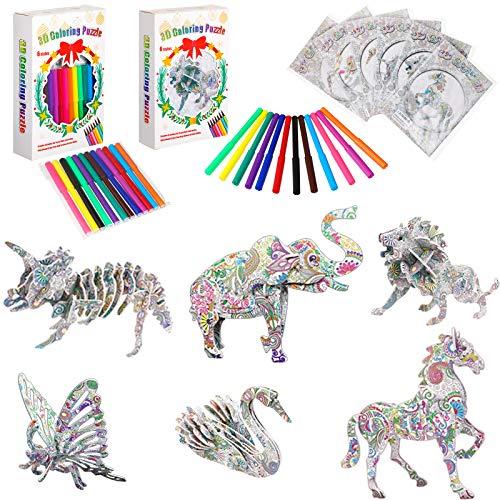 Zonon El juego de rompecabezas para colorear 3D incluye 6 piezas de madera 3D rompecabezas de animales para colorear pintura 3D rompecabezas y 12 marcadores de bolígrafo