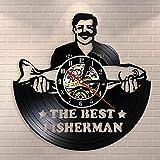 QIANGTOU Divertido Reloj de Pared con Disco de Vinilo Vintage para Hombre de Pesca, Regalo para los Amantes de la Pesca de papá Pescador, el Mejor Reloj de Pared de Pesca de Pesca