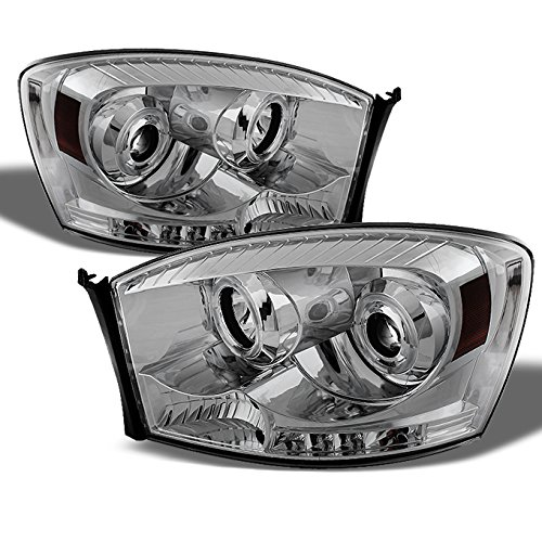 For Dodge Ram Pickup Truck Chrome Clear Dual Halo Ring LED Projector Headlights Left + Right Replacement