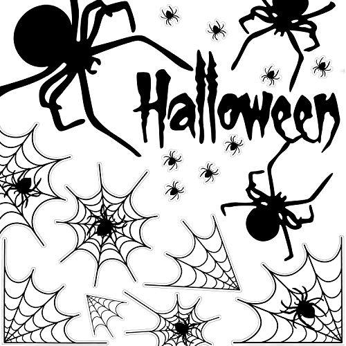 MUSCCCM Halloween Cobweb Spider Aufkleber, schwarz 2 Blatt DIY wasserdicht abnehmbare PVC-Aufkleber, statisch haftende Windows-Aufkleber für Halloween-Party, Inneneinrichtungen, Festival Ornament.