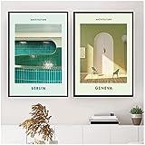 IUYBHRYI Cartel de impresión de Arte de Arquitectura Ginebra Berlín Pintura de Lienzo Simple Cuadro de Pared filósofo Dormitorio decoración Interior-50x70cmx2 sin Marco
