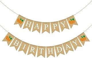 Rainlemon Jute Burlap Happy Birthday Banner with Pumpkin Rustic Fall Autumn Birthday Party Garland Decoration