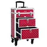 SONGMICS SONGMICS Valise de maquillage ABS Rouge 34 x 27 x 57 cm JHZ08RD Neceser de Viaje 57 Centimeters Rojo (Rouge)