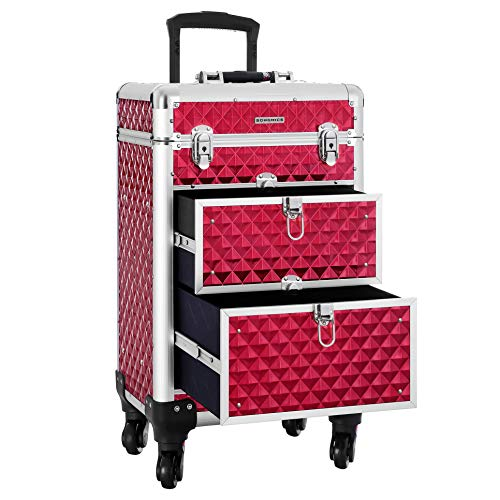 SONGMICS SONGMICS valise de maquillage ABS Rouge 34 x 27 57 cm JHZ08RD Beauty Case da viaggio, cm, Rosso (Rouge)