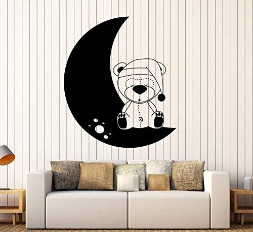 BailongXiao Rahmenlos-Cartoon Teddybär Spielzeug Mond Wandaufkleber für Baby Girl Kinderzimmer