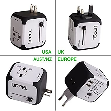 Travel Adapter, UPPEL International Power Adapter, European Adapter with Dual USB, Power Adapter Wall Charger for US EU UK AU about 151 countries Universal Plug Adapter with Dual Safety Fuse(White)