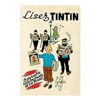 ティンティンコミックスの冒険キャンバス絵画インテリア漫画ヴィンテージ旅行ポスター男の子の寝室の壁アートパネルキッズルームの家の装飾写真ギフト40X60cmフレームなしDf7l