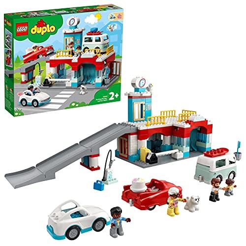 LEGO 10948 Duplo Town Aparcamiento y Autolavado, Parking para Coches de Juguete para Niños +2 Años con Mini Figuras