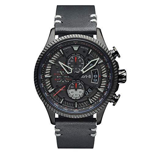 AV-4064-05 - Orologio da uomo al quarzo, 45 mm, quadrante nero, cinturino in pelle nera