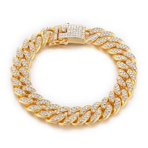 BJGCWY 1 Juego de Collares de Cadena de bordillo de Diamantes de imitación pavimentados de Oro de 13 mm para Hombres, joyería, Pulsera de Oro de 20 Pulgadas (50 cm)