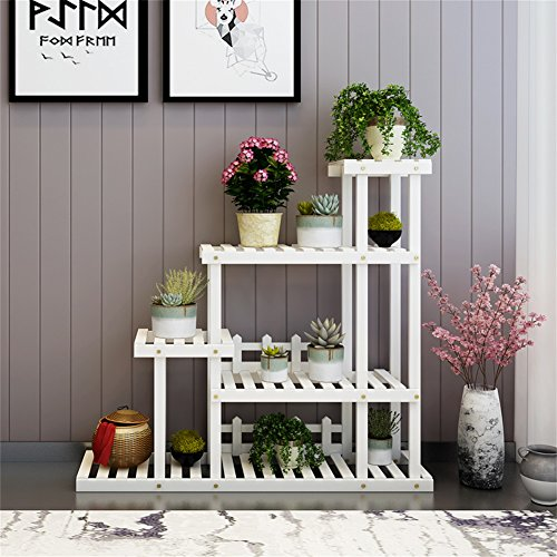 Blanc solide bois salon fleur stand balcon style européen simple plante en pot Stand extérieur et intérieur