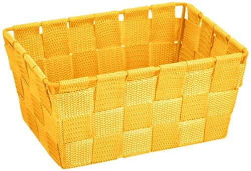 WENKO 21665100 Aufbewahrungskorb Adria Mini Gelb - Badkorb, rechteckig, Kunststoff-Geflecht, Polypropylen, 19 x 9 x 14 cm