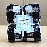 Buffalo Plaid B&W Anti-Pill No-Sew Throw Fleece Fabric Kit (50x60)