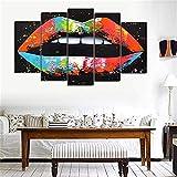 RELIABI 5 Panel Set Tela Stampa soggiorno Bocca Wall Art immagine astratta Poster Stampa decorazione immagine Sin marco
