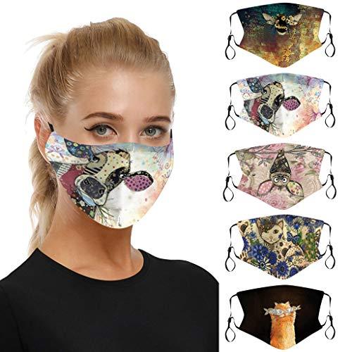 Sannysis 5 Stück Kuh Mundmaske mit Motiv Bunte Halstuch Atemschutz Multifunktionstuch Lustige Mund Nasenschutz Waschbar Party Bandanas Damen Herren (A)