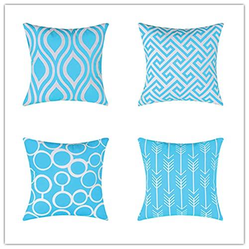 Pack de 4 Funda de Cojine Azul Zafiro Cuadrado Cushion Cover Decoración Algodón Lino Lanzar Funda de Almohada Caso de la Cubierta Cojines para Sofá Decorativo 24 x 24 Inch 60 x 60 cm X4246