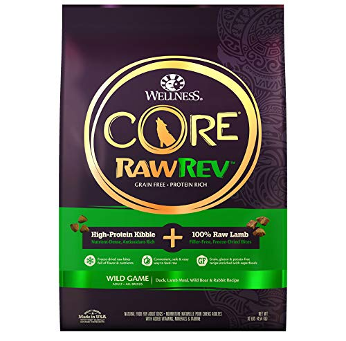 Wellness CORE Rawrev Natural Grain Free Dry Dog Food, Wild Game Duck, Wild Boar & Rabbit With Freeze Dried Lamb, 10-Pound Bag