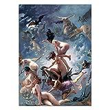 N / A Hexen gehen zum Sabbat Vintage Wandkunst Poster