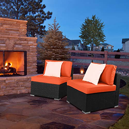 EXCITED WORK PE Wicker Outdoor Loveseat 2 Pcs Patio Couch with Washable Cushion and 2 Pillow,Sectional Furniture Conversation Set(Orange)
