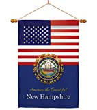 Americana Home & Garden US New Hampshire House Flag Dowel Set Regional States American Territories Republic Country Particular Area Decoration Banner Small Garden Yard Gift Double-Sided, Made in USA