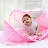LUCKSTAR Baby Travel Bed - Fold Baby Bed Mosquito Net Netting Play Tent House for Baby/Kids (Cute Pink) …